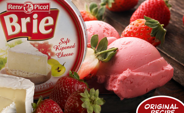 No Churn Strawberry Rhubarb Brie Ice Cream