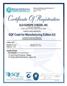 SQF Certificate for Old Europe Cheese - Expires 2020