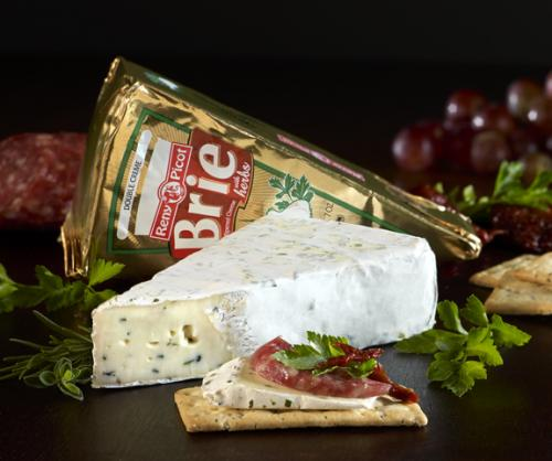 Double creme brie with herbs with product