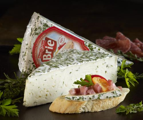 Herb and garlic brie with product 1